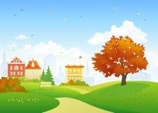 Vecchio parco di autunno della città illustrazione vettoriale