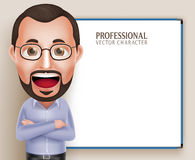 Vecchio parlare del professor Teacher Man Vector Character Illustrazione di Stock