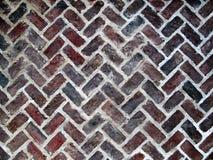 Vecchio parquet Foor del mattone immagine stock