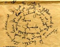 Vecchio particolare della scrittura a mano della lettera Fotografia Stock