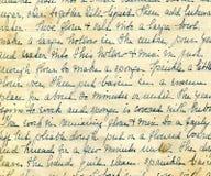 Vecchio particolare della scrittura a mano di ricetta Fotografia Stock