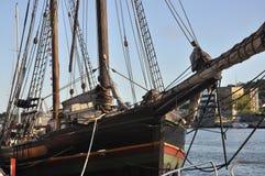 Vecchio particolare di legno dell'imbarcazione di navigazione, Tonsberg, Norvegia immagine stock