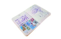 Apra il passaporto australiano con i visti Fotografia Stock