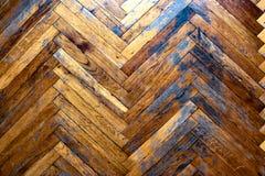 Vecchio pavimento di parquet misero Vista superiore annata fotografie stock libere da diritti