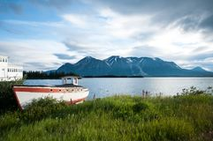 Vecchio peschereccio sulla riva erbosa in Atlin, Canada fotografia stock