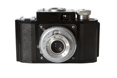 Vecchio photocamera isolato su priorità bassa bianca Immagini Stock Libere da Diritti