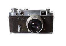 Vecchio photocamera isolato su priorità bassa bianca Fotografia Stock