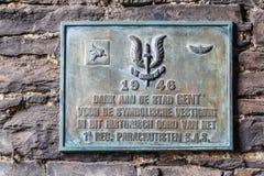 Vecchio piatto di parete storico in signore, Fiandre, Belgio Immagine Stock Libera da Diritti