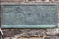 Vecchio piatto storico della decorazione della parete in signore, Fiandre, Belgio Fotografie Stock