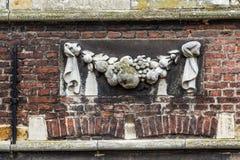 Vecchio piatto storico della decorazione della parete in signore, Fiandre, Belgio Immagini Stock