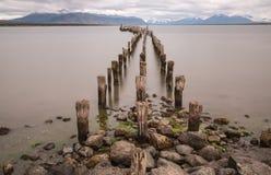 Vecchio pilastro ad Ultima Esperanza Sound in Puerto Natales Immagine Stock