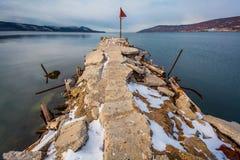Vecchio pilastro al mare Fotografia Stock