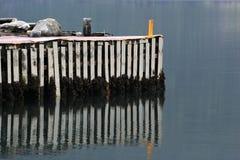 Vecchio pilastro di legno riflesso in acqua Fotografia Stock Libera da Diritti