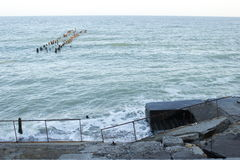 Vecchio pilastro nel Mar Nero Immagini Stock