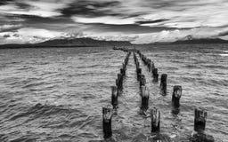 Vecchio pilastro in Puerto Natales immagine stock libera da diritti