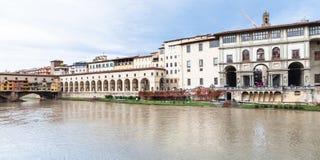 Vecchio Ponte, διάδρομος vasari και στοά Uffizi Στοκ Εικόνες