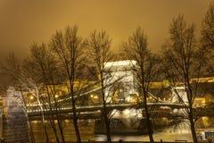 Vecchio ponte a catena famoso a Budapest dietro gli alberi alla notte Fotografia Stock