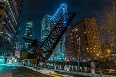 Vecchio ponte chiuso di KInzie in Chicago del centro immagine stock libera da diritti
