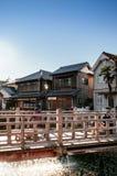 Vecchio ponte d'annata di Ja Ja o di Toyohashi in Sawara, Katori, Chiba Fotografia Stock Libera da Diritti
