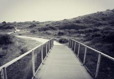 Vecchio ponte del metallo in bianco e nero Fotografie Stock Libere da Diritti
