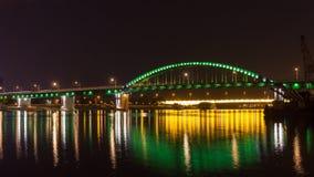 Vecchio ponte del tram attraverso il fiume Sava Fotografia Stock