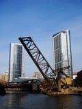 Vecchio ponte della ferrovia della via di Kinzie, Chicago, U.S.A. Fotografie Stock Libere da Diritti
