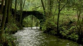Vecchio ponte della roccia sopra il fiume di Filveda video d archivio