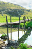 Vecchio ponte di legno Immagine Stock