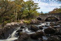 Vecchio ponte di pietra attraverso il fiume nell'anello di Kerry immagine stock