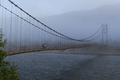 Vecchio ponte, fiume di Katun La Russia Fotografia Stock Libera da Diritti