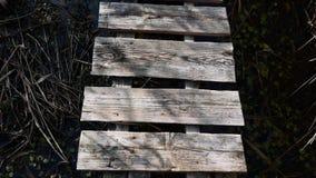 Vecchio ponte grigio di legno che vola sopra video d archivio