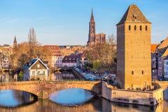 Vecchio ponte storico di Strasburgo, l'Alsazia Fotografia Stock