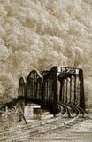 Vecchio ponticello del treno fotografia stock
