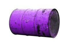 Vecchio porpora della ruggine dell'olio del barilotto isolato su fondo bianco immagini stock