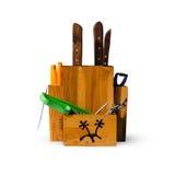 Vecchio porta-coltelli di legno, isolato Immagine Stock Libera da Diritti