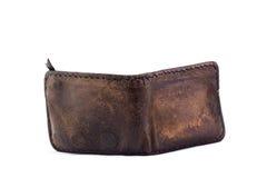 Vecchio portafoglio di cuoio marrone dei soldi Immagini Stock