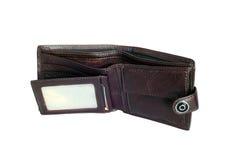 Vecchio portafoglio vuoto misero Fotografie Stock Libere da Diritti