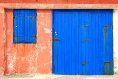 Vecchio portello di legno blu Fotografia Stock
