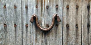 Vecchio portello di legno con la maniglia Immagini Stock