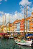 Vecchio porto a Copenhaghen Fotografia Stock