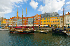 Vecchio porto a Copenhaghen in un giorno di estate Immagine Stock Libera da Diritti