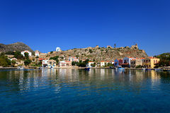 Vecchio porto di Kastellorizo, isola greca a dodecanese fotografie stock
