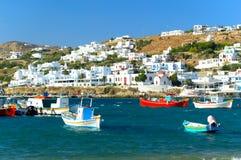 Vecchio porto di Mykonos, Grecia Immagine Stock