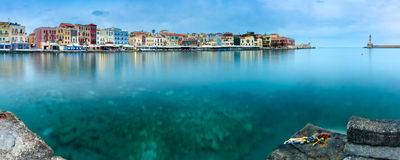 Vecchio porto di panorama, Chania, Creta, Grecia Fotografia Stock Libera da Diritti