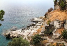 Vecchio porto a Kavala, Grecia fotografia stock libera da diritti