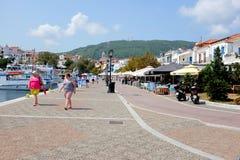 Vecchio porto, Skiathos, Grecia Immagini Stock
