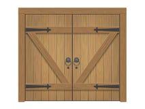 Vecchio portone chiuso di legno illustrazione di stock