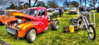 Vecchio prenda il camion ed il selettore rotante degli anni 60 in HDR Fotografia Stock
