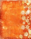 Vecchio, priorità bassa dell'annata con i fiori Immagini Stock