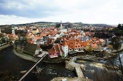 Vecchio punto di vista del tetto della città di Ceco Replublic Immagine Stock Libera da Diritti